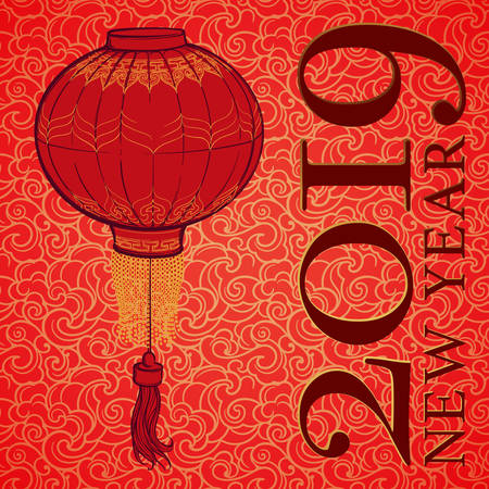 Chinese New Year 2019 greeting card. Chinese red lantern on a red and gold seamless pattern. Intricate linear hand drawing. Calendar Cover. EPS10 vector illustration. Imagens - 127261702