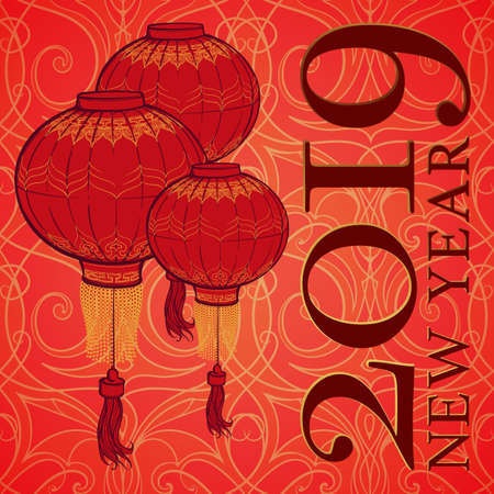Chinese New Year 2019 greeting card. Chinese red lantern on a red and gold seamless pattern. Intricate linear hand drawing. Calendar Cover. EPS10 vector illustration.