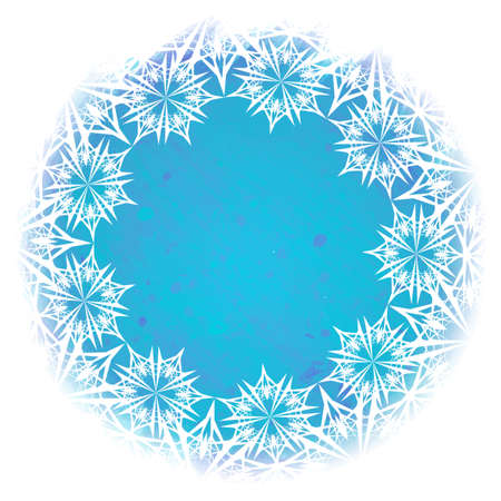 White lacelike elegant snowflakes arranged in a circular frame isolated on a watercolor textured winter background. Greeting card or textile print template. EPS10 vector illustration