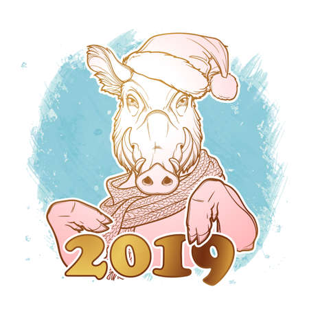 Cute pig in a Santa hat and scarf holding 2019 sign. Mascot of the New Year 2019 according to Chinese calendar. Linear black linear drawing isolated on textured watercolor background. EPS10 vector Ilustração