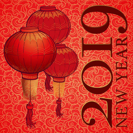 Chinese New Year 2019 greeting card. Chinese red lantern on a red and gold seamless pattern. Intricate linear hand drawing. Calendar Cover. EPS10 vector illustration. Imagens - 127225434