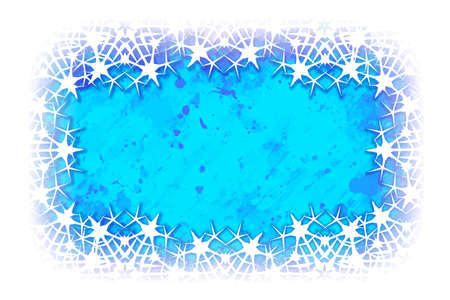 White lacelike elegant snowflakes arranged in a rectangular horizontal frame isolated on a watercolor textured winter background. Greeting card or textile print template. EPS10 vector illustration