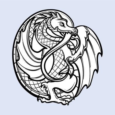Dragón decorativo. Arte conceptual de estilo gótico medieval. Elemento de diseño. Dibujo negro y blanco aislado sobre fondo gris. Ilustración vectorial EPS10 Ilustración de vector