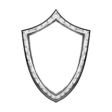 Early medieval English shield. Front view. Element for design coat of arms, logo, emblem and tattoo. Black a nd white drawing isolated on white background. EPS10 vector illustration Imagens - 126388745