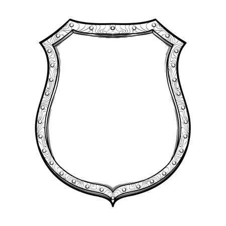 Late medieval German shield. Front view. Element for design coat of arms, logo, emblem and tattoo. Black a nd white drawing isolated on white background. EPS10 vector illustration