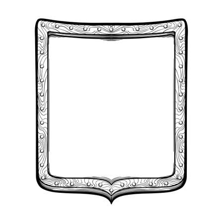 Early medieval rectangular or French shield. Front view. Element for design coat of arms, logo, emblem and tattoo. Black a nd white drawing isolated on white background. EPS10 vector illustration