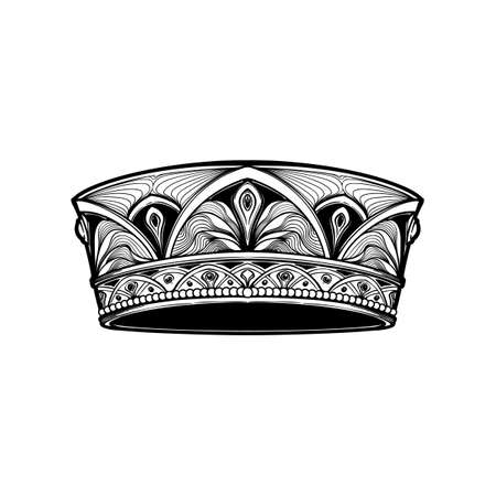 Filigree high detailed crown. Element for design logo, emblem and tattoo. Vector illustration isolated on white background Coloring book for kids and adults. EPS10 vector illustration