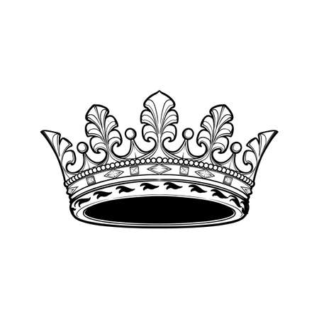 Filigree high detailed ducal crown. Element for design logo, emblem and tattoo. Vector illustration isolated on white background Coloring book for kids and adults. EPS10 vector illustration Imagens - 126388751