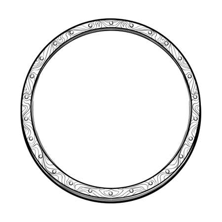 Early medieval circular shield. Front view. Element for design coat of arms, logo, emblem and tattoo. Black a nd white drawing isolated on white background. EPS10 vector illustration Banco de Imagens - 126388752