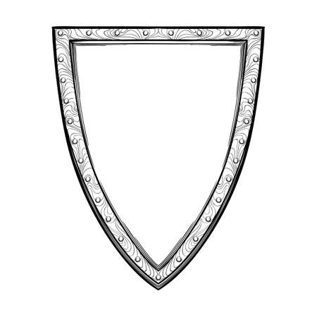 Early medieval heater or English shield. Front view. Element for design coat of arms, logo, emblem and tattoo. Black a nd white drawing isolated on white background. EPS10 vector illustration