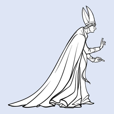 High rank catholic priest with blessing gesture. Medieval gothic style concept art. Design element. Black a nd white drawing isolated on grey background. EPS10 vector illustration
