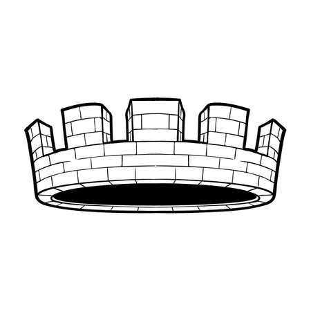 City or municipal body crown. Element for design logo, coat of arms, emblem and tattoo. Vector illustration isolated on white background. Coloring book for kids and adults. EPS10 vector illustration Banco de Imagens - 126388756