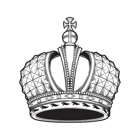 Couronne impériale russe très détaillée en filigrane. Élément pour le logo de conception, l'emblème et le tatouage. Illustration vectorielle isolée sur fond blanc Livre de coloriage pour enfants et adultes. Illustration vectorielle EPS10
