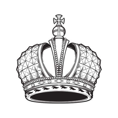 Filigrana de alta corona imperial rusa detallada. Elemento de diseño de logotipo, emblema y tatuaje. Ilustración de vectores aislado sobre fondo blanco Libro de colorear para niños y adultos. Ilustración vectorial EPS10