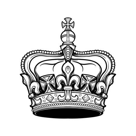 Filigree high detailed British imperial crown. Element for design logo, emblem and tattoo. Vector illustration isolated on white background Coloring book for kids and adults. EPS10 vector illustration Banco de Imagens - 126388758