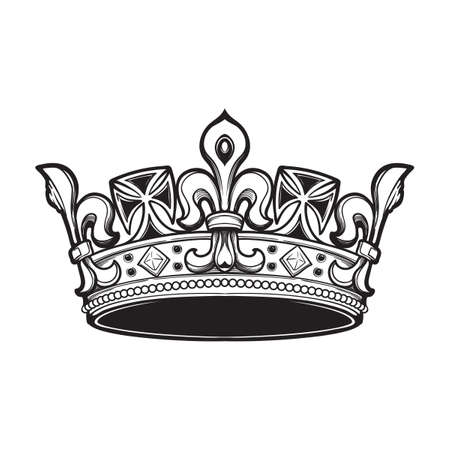 Filigree high detailed ducal crown. Element for design logo, emblem and tattoo. Vector illustration isolated on white background Coloring book for kids and adults. EPS10 vector illustration Banco de Imagens - 126388759