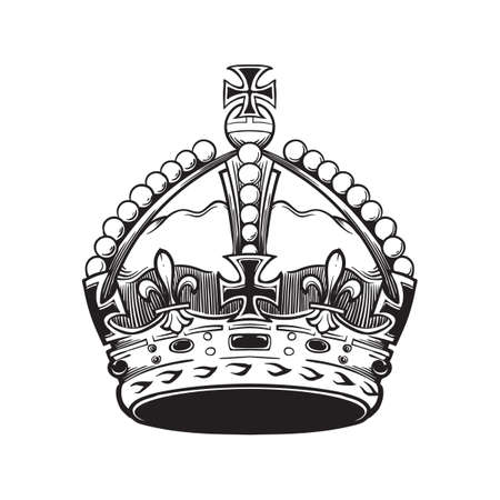 Filigree high detailed British imperial crown. Element for design logo, emblem and tattoo. Vector illustration isolated on white background Coloring book for kids and adults. EPS10 vector illustration Banco de Imagens - 126388760