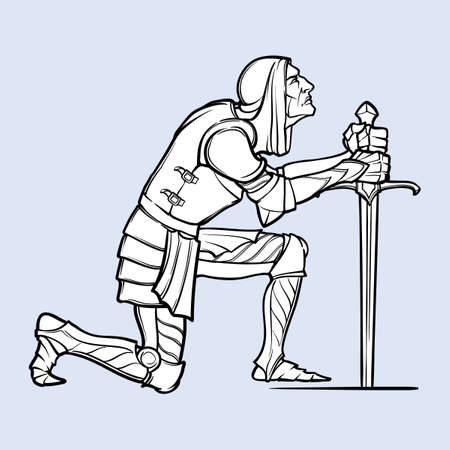 Medieval knight kneeling down and offering his service. Medieval gothic style concept art. Design element. Black a nd white drawing isolated on grey background. EPS10 vector illustration Vettoriali
