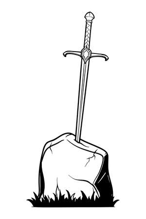 Excalibur Sword trapped in stone. Iconic scene from the Medieval European stories about King Arthur. Outline vector illustration isolated on white background. EPS10 vector