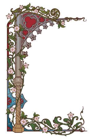 Cornice rettangolare in stile manoscritto medievale. Arco a sesto acuto in stile gotico intrecciato con ghirlande di rose. Orientamento verticale. Illustrazione vettoriale EPS10