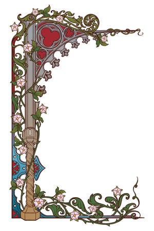 Medieval manuscript style rectangular frame. Gothic style pointed arch braided with a rose garlands. Vertical orientation. EPS10 vector illustration Banco de Imagens - 126311290