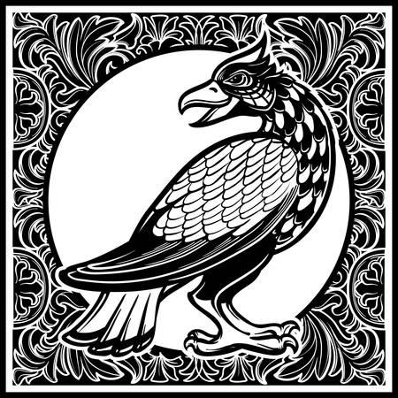 Decorative bird. Medieval gothic style concept art. Design element. Black a nd white drawing isolated on grey background. EPS10 vector illustration Ilustração