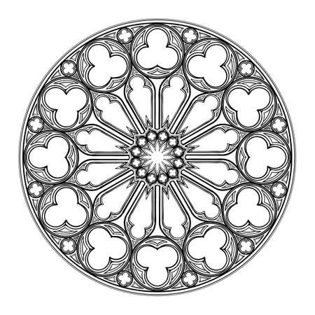 Gotisch roosvenster. Populair architectonisch motief in middeleeuwse Europese kunst. Element voor het ontwerpen van wapenschilden, illustraties in middeleeuwse stijl. Zwart en wit. EPS 10 vectorillustratie