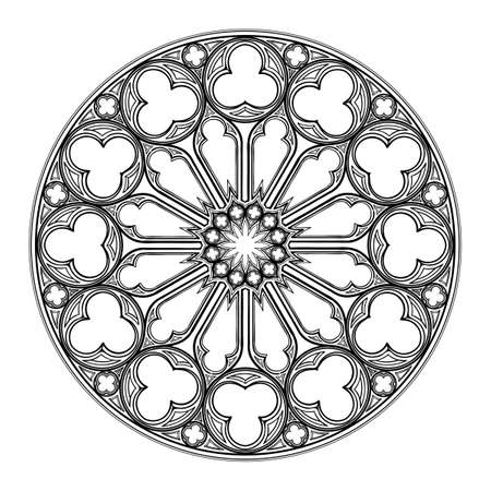 Rosone gotico. Motivo architettonico popolare nell'arte europea medievale. Elemento per la progettazione di stemmi, illustrazioni in stile medievale. Bianco e nero. Illustrazione vettoriale EPS 10