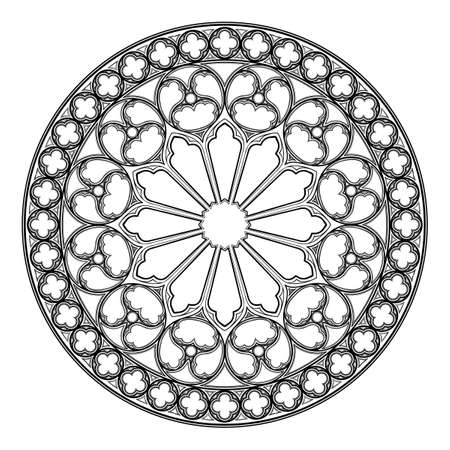 Gotisch roosvenster. Populair architectonisch motief in middeleeuwse Europese kunst. Element voor het ontwerpen van wapenschilden, illustraties in middeleeuwse stijl. Zwart en wit. EPS 10 vectorillustratie Vector Illustratie