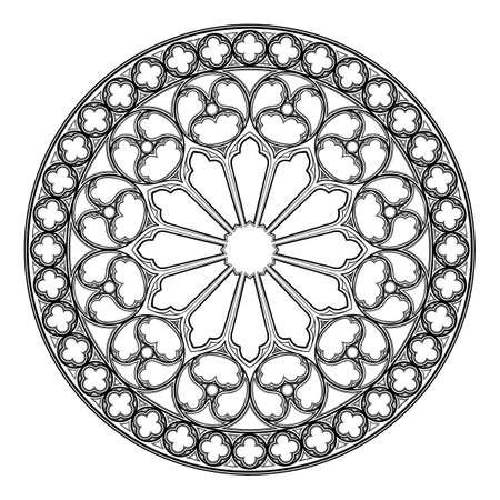 Rosetón gótico. Motivo arquitectónico popular en el arte medieval europeo. Elemento para el diseño de escudos de armas, ilustraciones de estilo medieval. En blanco y negro. Ilustración de vector EPS 10 Ilustración de vector