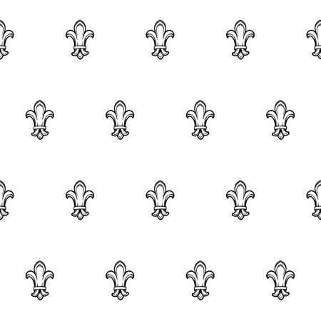 Fleur-de-lis royal french lilly flower seamless patterns. Fleur-de-lys backdrop for interior design. Imperial ornate motif tiles. White silhouettes isolated on a black background. EPS10 vector Ilustração