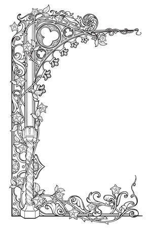 Medieval manuscript style rectangular frame. Gothic style pointed arch braided with a rose garlands. Vertical orientation. EPS10 vector illustration Imagens - 126235175