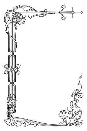 Cornice rettangolare in stile manoscritto medievale. Orientamento verticale. Illustrazione vettoriale EPS10