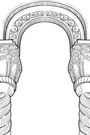 Medieval manuscript style rectangular frame. Gothic style pointed arch. Vertical orientation. EPS10 vector illustration