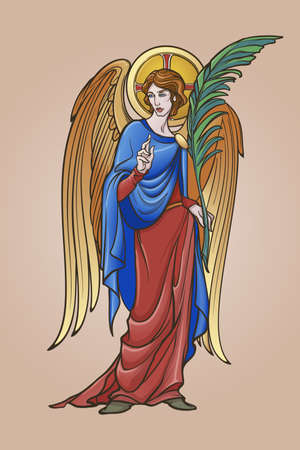 Angel figure with blessing gesture and palm branch. Medieval gothic style concept art. Design element. Brightly colored drawing. Medieval Manuscript pallette. EPS10 vector illustration
