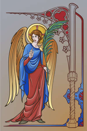Angel figure with blessing gesture and palm branch. Gothic decorative frame. Medieval gothic style concept art. Design element. Brightly colored drawing. Medieval Manuscript pallette. EPS10 vector