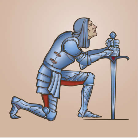 Medieval knight kneeling down and offering his service. Medieval gothic style concept art. Design element. Color drawing isolated on gradient background. EPS10 vector illustration
