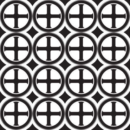 Gothic Cross in the circle seamless pattern. Popular motiff in Medieval european and Byzantine art. Element for designing medieval style textile, prints and illustrations. Black and white. EPS 10 Illustration