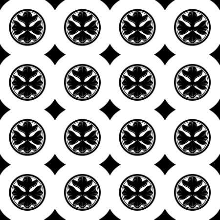 Gothic Cross in the circle seamless pattern. Popular motiff in Medieval european and Byzantine art. Element for designing medieval style textile, prints and illustrations. Black and white. EPS 10  イラスト・ベクター素材
