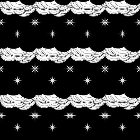 Gothic Stars and clouds. Seamless pattern. Popular motiff in a decorative Medieval european art. Element for designing medieval style illustrations. Black and white. EPS10 vector illustration Ilustração
