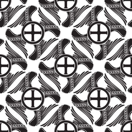 Gothic Cross with wings in the shape of swastica. Seamless pattern. Popular motiff in Medieval european and Byzantine art. Element for designing medieval style textile, prints and illustrations