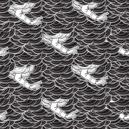 Blessing hand appearing from the clouds. Seamless pattern. Popular decorative motiff in Medieval european art. Element for medieval style illustrations. Black and white. EPS 10 vector illustration