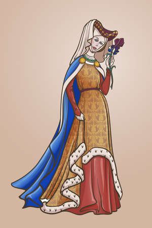 Medieval princess with a characteristic gothic slouching posture. Medieval gothic style concept art. Design element. Color drawing isolated on gradient background. EPS10 vector illustration