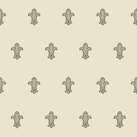 Fleur-de-lis royal french lilly flower seamless patterns. Fleur-de-lys backdrop for interior design. Imperial ornate motif tiles. Retro palette with muted colors. EPS10 vector illustration
