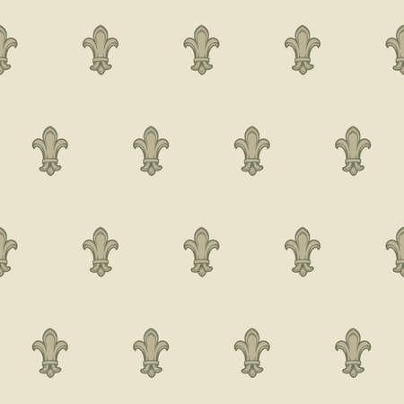 Fleur-de-lis royal french lilly flower seamless patterns. Fleur-de-lys backdrop for interior design. Imperial ornate motif tiles. Retro palette with muted colors. EPS10 vector illustration