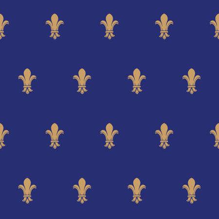 Fleur-de-lis royal french lilly flower seamless patterns. Fleur-de-lys backdrop for interior design. Imperial ornate motif tiles. Retro palette with muted colors. EPS10 vector