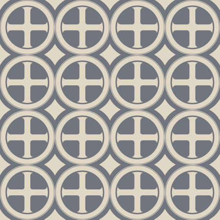 Gothic Cross in the circle seamless pattern. Popular motiff in Medieval european and Byzantine art. Element for designing medieval style textile, prints and illustrations. Retro colors. EPS 10