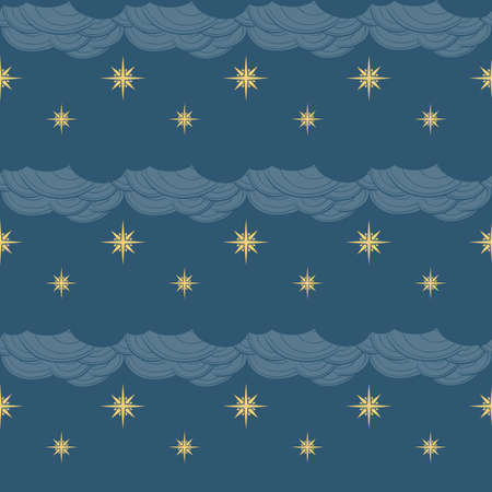 Gothic Stars and clouds. Seamless pattern. Popular motiff in a decorative Medieval european art. Element for designing medieval style illustrations. Retro colors. EPS10 vector illustration 일러스트