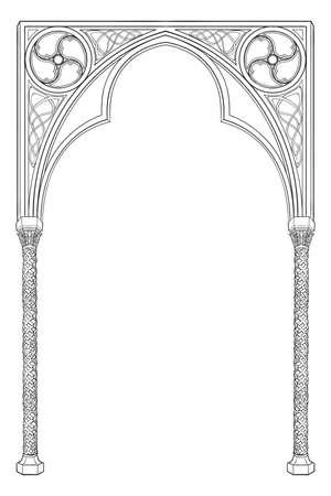 Cornice rettangolare in stile manoscritto medievale. Arco a sesto acuto in stile gotico. Orientamento verticale. Illustrazione vettoriale EPS10 Vettoriali