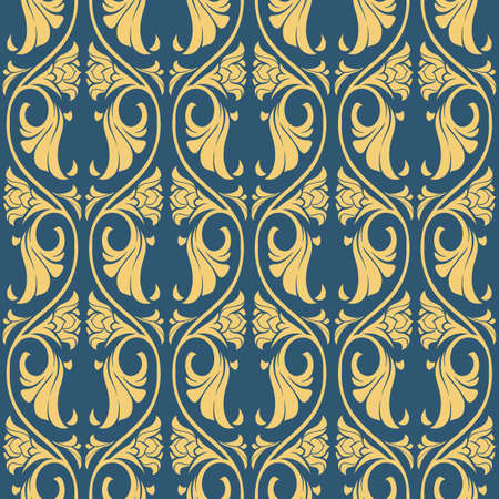 Gothic floral seamless pattern. Vertical rhythm. Popular motiff in Medieval european art. Element for designing medieval style textile, prints and illustrations. Retro colors. EPS 10 vector